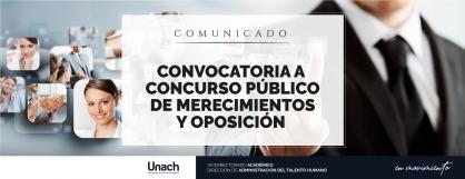 CONVOCATORIA A CONCURSO PÚBLICO DE MÉRITO Y OPOSICIÓN