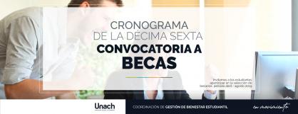 XVI CONVOCATORIA A BECAS PERIODO ABRIL- AGOSTO 2019