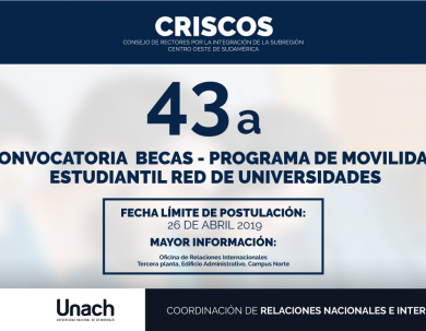 43 CONVOCATORIA DEL PROGRAMA DE MOVILIDAD ESTUDIANTIL CRISCOS