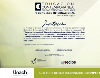 INVITACIÓN V CONGRESO EDUCACIÓN CONTEMPORÁNEA, CALIDAD EDUCATIVA Y BUEN VIVIR