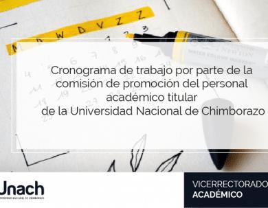 CRONOGRAMA DE TRABAJO POR PARTE DE LA  COMISIÓN DE PROMOCIÓN DEL PERSONAL  ACADÉMICO TITULAR  DE LA UNIVERSIDAD NACIONAL DE CHIMBORAZO