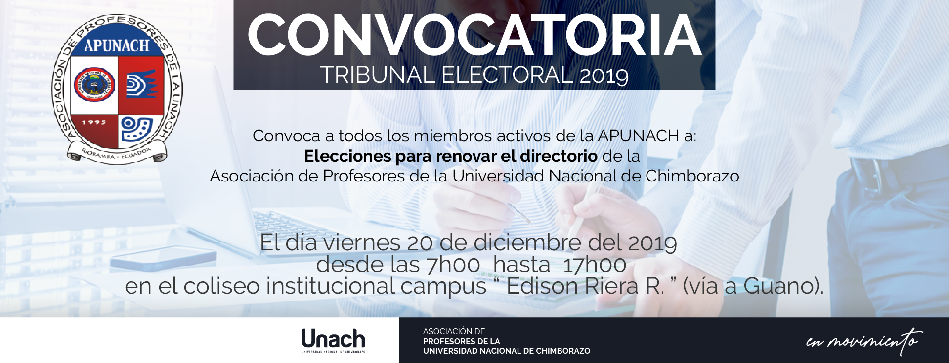 "CONVOCATORIA TRIBUNAL ELECTORAL 2019  ""APUNACH"""