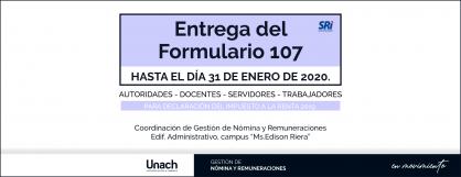 ENTREGA DEL FORMULARIO 107