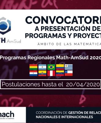CONVOCATORIA A PRESENTACIÓN DE PROGRAMAS Y PROYECTOS MATH - AMSUT 2020