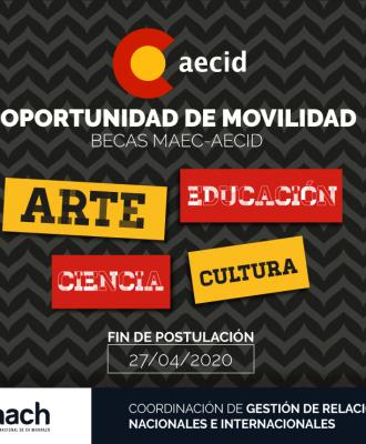 BECAS MAEC-AECID DE ARTE, EDUCACIÓN, CIENCIA Y CULTURA
