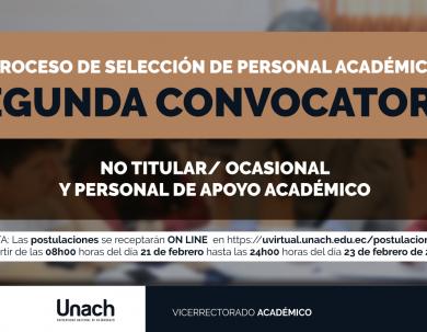 SEGUNDA CONVOCATORIA PROCESO DE SELECCIÓN DE PERSONAL ACADÉMICO NO TITULAR
