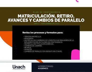 PROCESO DE MATRICULACIÓN, RETIRO, AVANCES Y CAMBIOS DE PARALELO PARA ESTUDIANTES QUE REQUIEREN INFORME