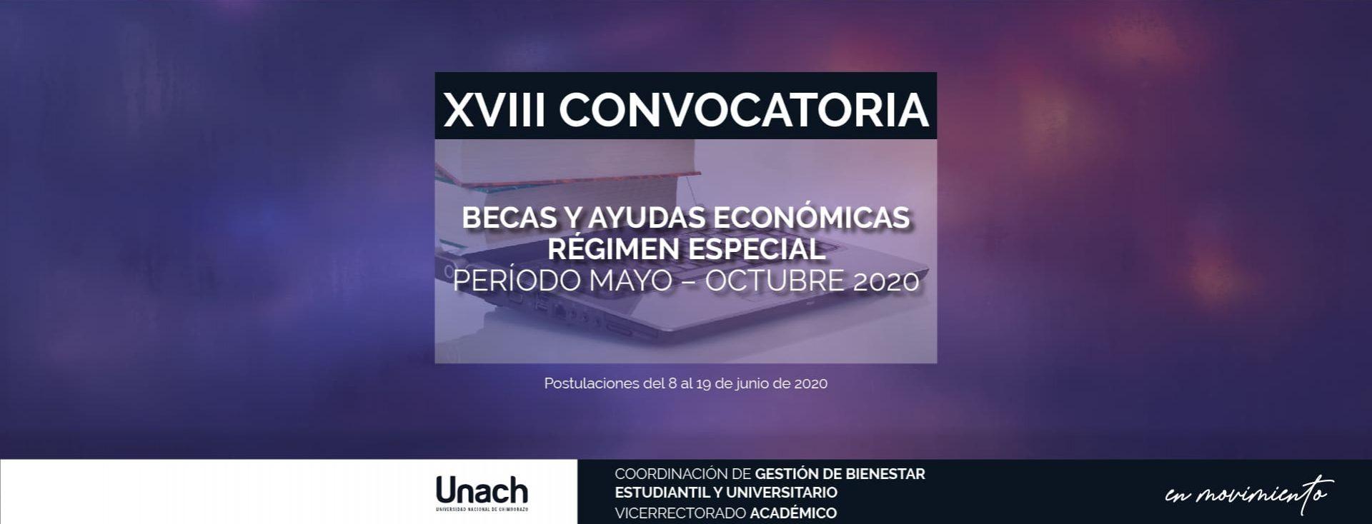 CONVOCATORIA A BECAS Y AYUDAS ECONÓMICAS MAYO-OCTUBRE 2020