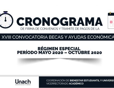 CRONOGRAMA DE FIRMA DE CONVENIOS Y TRÁMITES DE PAGOS DE LA XVIII CONVOCATORIA BECAS Y AYUDAS ECONÓMICAS
