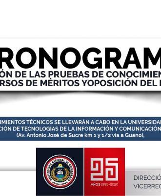 CRONOGRAMA Y NÓMINA DE POSTULANTES PARA LA APLICACIÓN DE PRUEBAS DE CONOCIMIENTOS TÉCNICOS