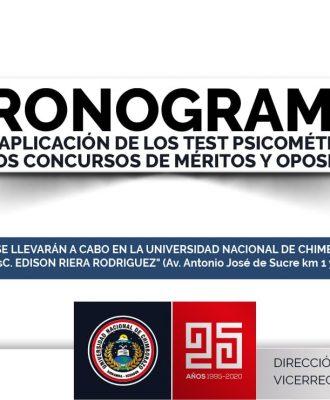 CRONOGRAMA PARA APLICACIÓN DE LOS TEST PSICOMETRICOS DE LOS CONCURSOS DE MÉRITOS Y OPOSICIÓN