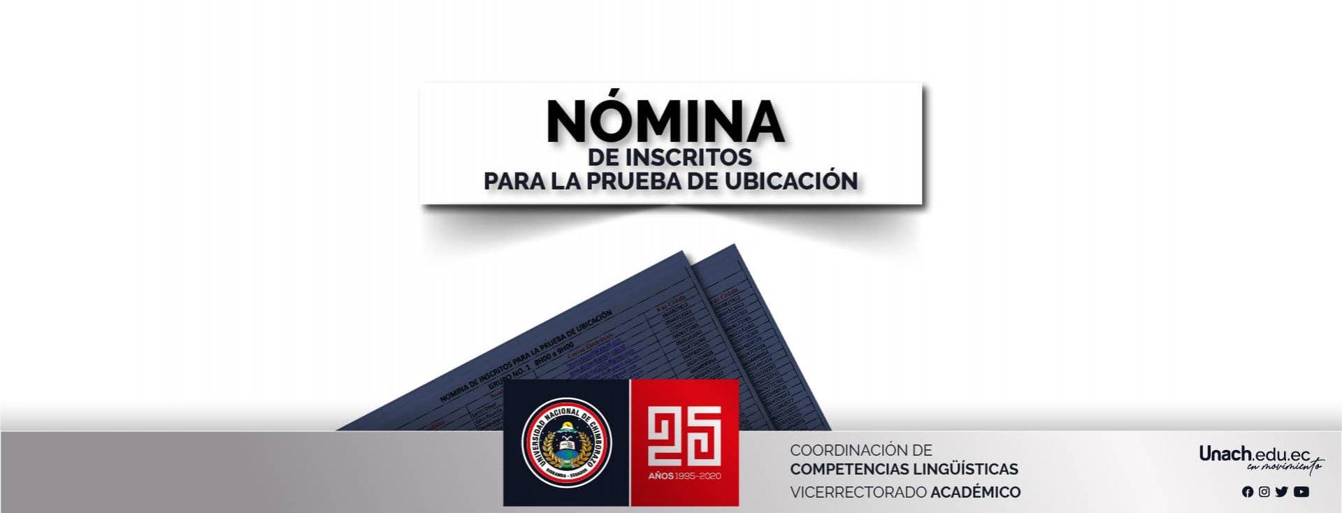 NÓMINA DE INSCRITOS PARA LA PRUEBA DE UBICACIÓN