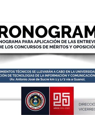 CRONOGRAMA PARA APLICACIÓN DE LAS ENTREVISTAS DE LOS CONCURSOS DE MÉRITOS Y OPOSICIÓN