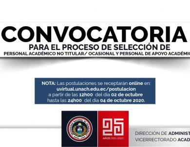 CONVOCATORIA PROCESO DE SELECCIÓN DE PERSONAL ACADÉMICO NO TITULAR/ OCASIONAL Y PERSONAL DE APOYO ACADÉMICO