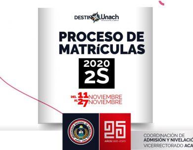 PROCESO DE MATRÍCULAS PARA NIVELACIÓN PERÍODO 2S-2020