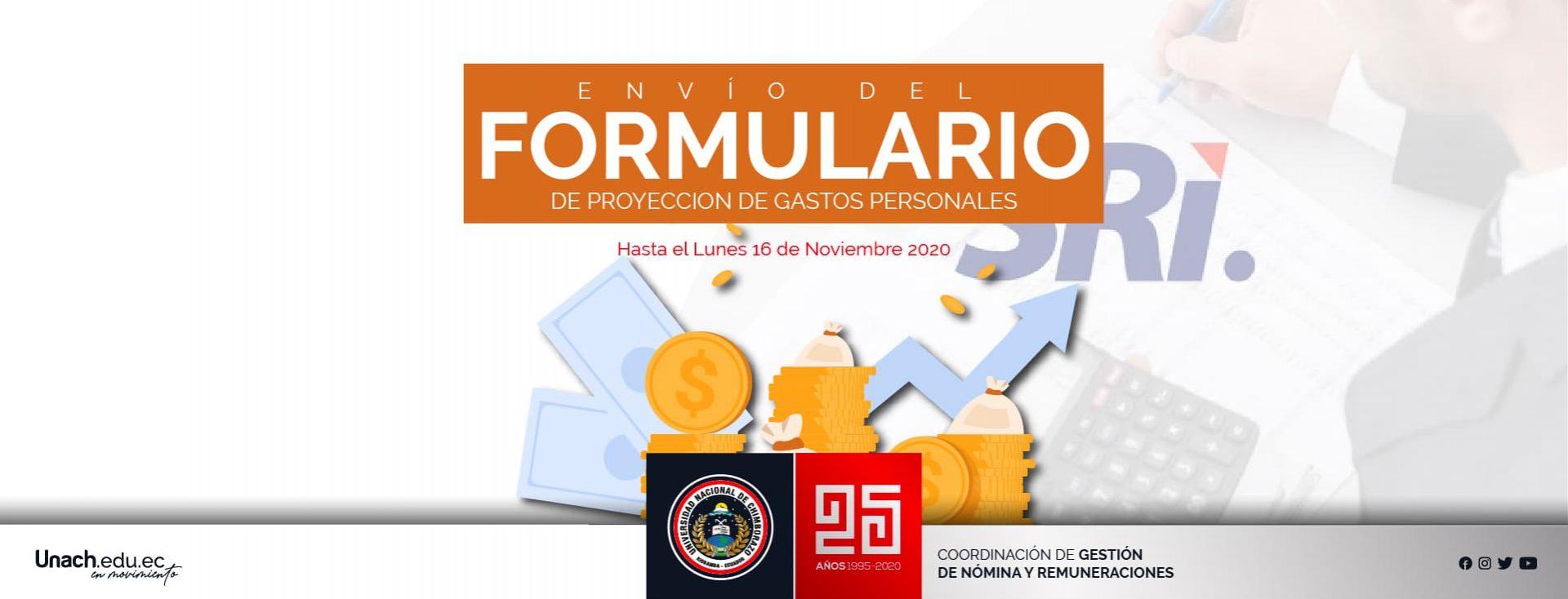 ENVÍO DEL FORMULARIO DE PROYECCIÓN DE GASTOS PERSONALES