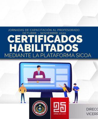 CERTIFICADOS HABILITADOS DE LAS JORNADAS DE CAPACITACIÓN DOCENTE OCTUBRE - NOVIEMBRE 2020