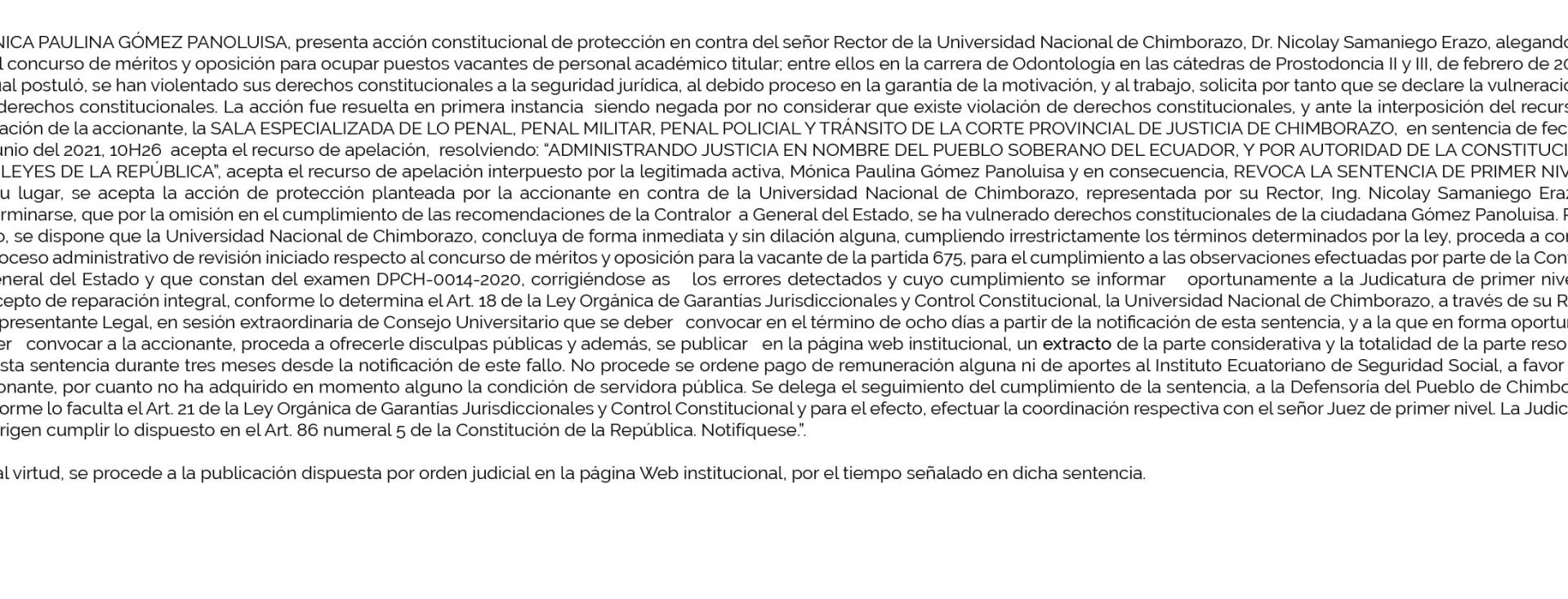 PUBLICACIÓN DE SENTENCIA