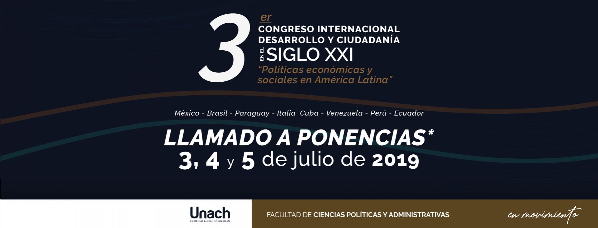 """III CONGRESO INTERNACIONAL DESARROLLO Y CIUDADANÍA EN EL SIGLO XXI """"POLÍTICAS ECONÓMICAS Y SOCIALES EN AMÉRICA LATINA"""""""