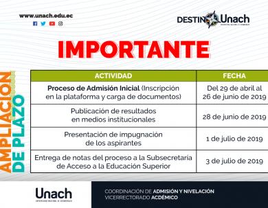 IMPORTANTE AMPLIACIÓN DEL PLAZO PARA EL PROCESO DE ADMISIÓN INICIAL