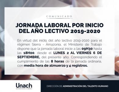 JORNADA LABORAL POR INICIO DEL AÑO LECTIVO 2019 - 2020
