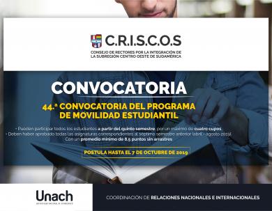 44ª CONVOCATORIA DEL PROGRAMA DE MOVILIDAD ESTUDIANTIL DE CRISCOS