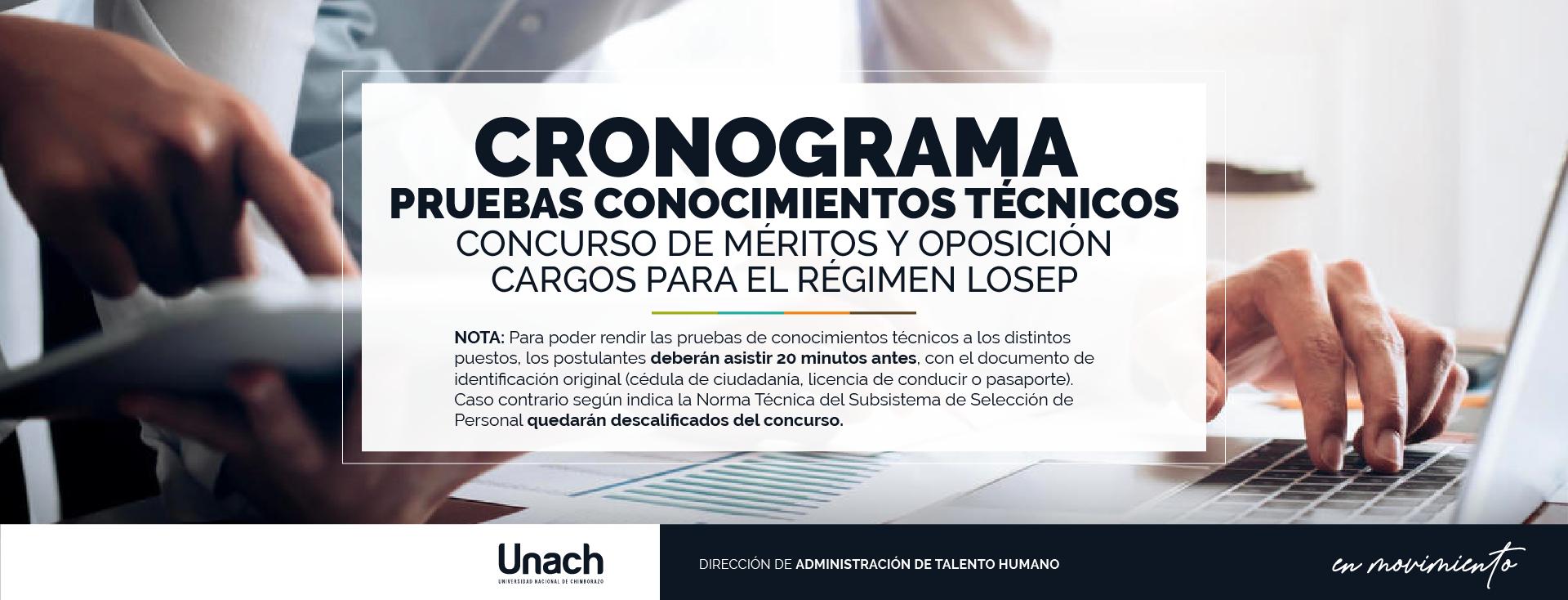 CRONOGRAMA PRUEBAS CONOCIMIENTOS TÉCNICOS