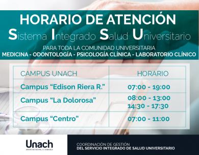 HORARIOS ATENCIÓN SISTEMA INTEGRADO DE SALUD UNIVERSITARIA