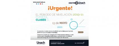 PERIODO DE NIVELACIÓN 2019 -1S EMPIEZA EL 13 DE MAYO