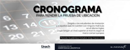 CRONOGRAMA PARA RENDIR LA PRUEBA DE UBICACIÓN