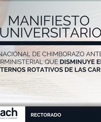 MANIFIESTO UNIVERSITARIO ANTE EL CONOCIMIENTO DEL ACUERDO INTERMINISTERIAL QUE DISMINUYE EL RECONOCIMIENTO ECONÓMICO A INTERNOS ROTATIVOS DE LAS CARRERAS DE LA SALUD