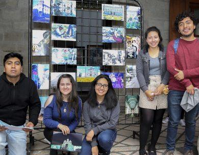 Estudiantes de la Unach plasmaron en arte el centro histórico de Riobamba