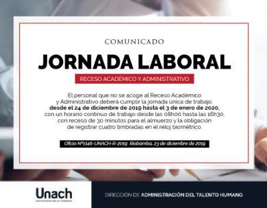 JORNADA LABORAL RECESO ACADÉMICO Y ADMINISTRATIVO