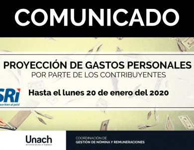 PROYECCIÓN DE GASTOS PERSONALES