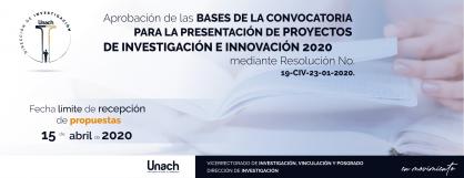 PRESENTACIÓN DE PROYECTOS  DE INVESTIGACIÓN E INNOVACIÓN 2020