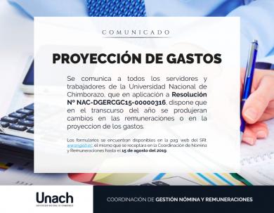 PROYECCION DE GASTOS