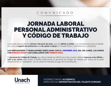 HORARIO DE JORNADA LABORAL PARA EL DÍA 06 DE JUNIO DE 2019