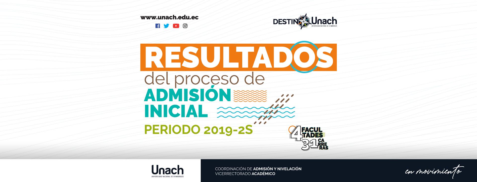 RESULTADOS FINALES DEL PROCESO DE ADMISIÓN INICIAL UNACH 2019-2S