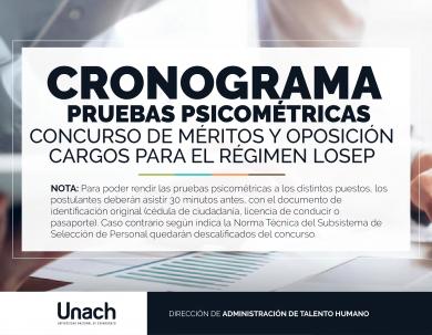 CRONOGRAMA  PRUEBAS PSICOMÉTRICAS
