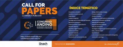 CALL FOR PAPERS, LLAMADO A PUBLICAR CONGRESO ANDINO DE INGENIERÍA, CONSTRUCCIÓN, TECNOLOGÍA E INNOVACIÓN
